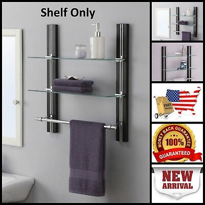 Organizer 2 Tier Bathroom Glass Shelf Wall Mount Adjustable With Towel Bar New
