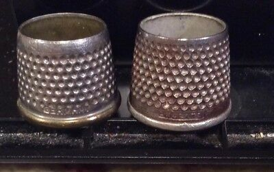 Old Vintage Antique Lot of Tailors Sewing Thimbles (GERMANY +ENGLAND) Two Pieces