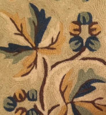 "Crewel Embroidery Wool Vintage Floral Leaves Fruit 15"" Square Cushion Cover"