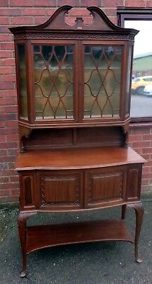 Edwardian antique Gillows Lancaster solid mahogany display collectors cabinet