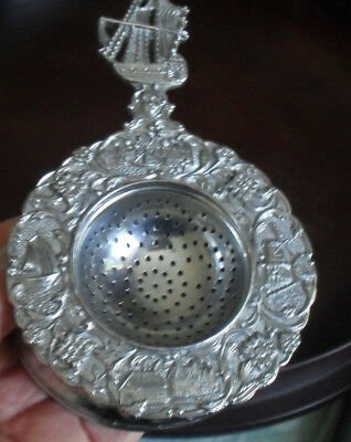 DUTCH antique styleT strainer chrome bowl & stand decorated pewter surround+ship