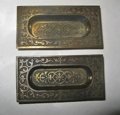 2 Antique Brass Eastlake Window Sash Lift or Pull
