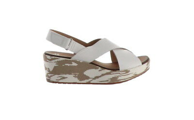 caa0d7e54d2d Clarks Leather Cross Band Wedge Sandals Stasha Hale White 8.5M NEW A274221