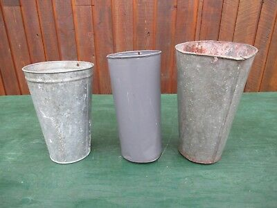 "ANTIQUE 3 Maple Syrup OLD TIN Sap Buckets Pails 14"" High"