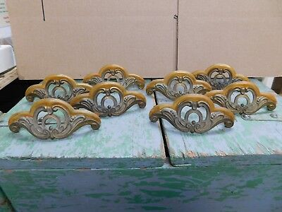 Vintage Keeler Brass ornate drawer pulls with early plastic?