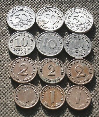 Lot Of Twelve Old Coins Germany (Empire Weimar Republic Third Reich) - Mix 1670