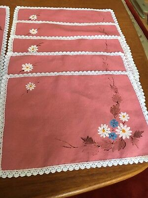 placemats, vintage linen, pink, 1 runner, 8 napkins, hand-painted