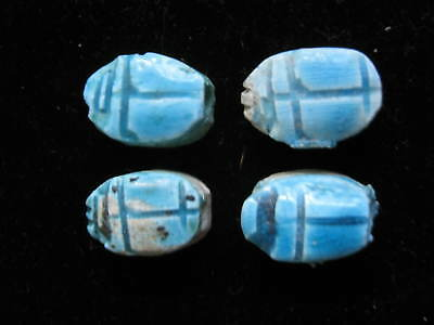 Four Blue Faience EGYPTIAN SCARABS, 20mm each, drilled for Necklace or Bracelet