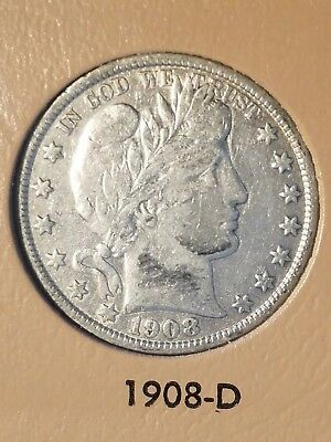 1908-D 50C BARBER HALF DOLLAR - 90% SILVER COIN - only 3.2 million minted VF-XF