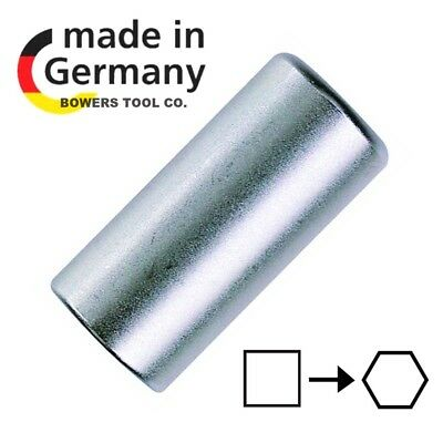 """Felo 1/4"""" Drive Square Socket to 1/4"""" Hex Bit Adapter Female to Female Germany"""
