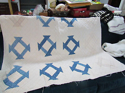 ANTIQUE VINTAGE White AND BLUE HAND STITCHED QUILT - 76 x 56