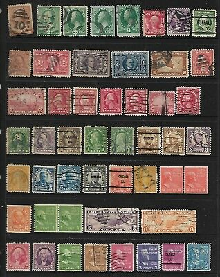 180+ early USA Pre 1960 stamps used, coil pairs are MUH