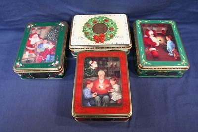 LOT of 4 Vintage Nabisco OREO Christmas Cookie Tins 1990 1991 1993 1994