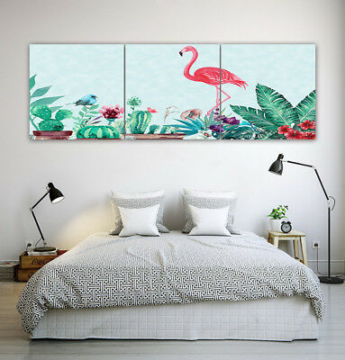 Tropical Leaves Cactus Flamingo Abstract Wall Decor Painting Canvas Art NO frame