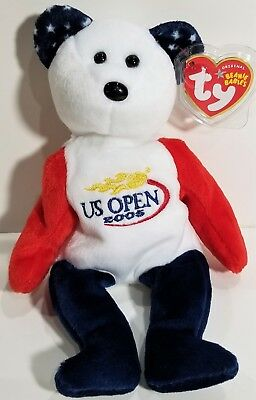 "TY Beanie Babies ""SMASH"" US Open 2005 Tennis Teddy Bear - MWMTs! PERFECT GIFT!"