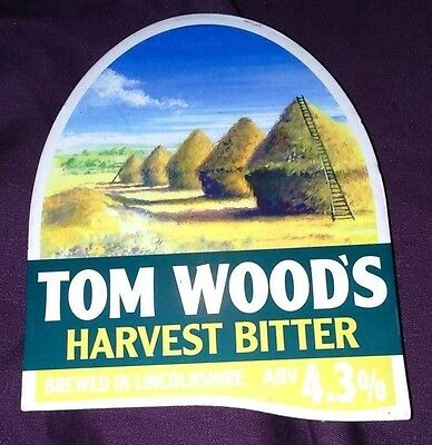 TOM WOOD'S brewery HARVEST BITTER cask beer pump clip badge front pumpclip Lincs
