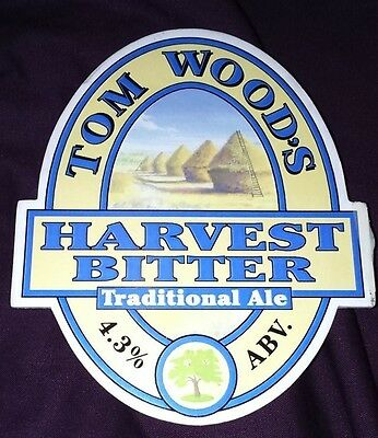 TOM WOOD'S brewery HARVEST BITTER real beer pump clip badge front pumpclip Lincs