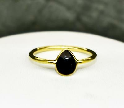 Beautiful .68ctw Natural Black Onyx 14k Yellow Gold / .925 Sterling Silver Ring