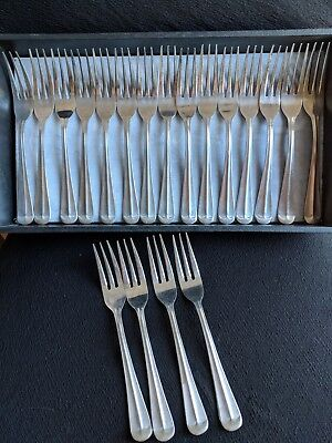 19 Vintage Adcraft King George Dinner/Salad Forks 3 Tine SS 9 Heavy Duty