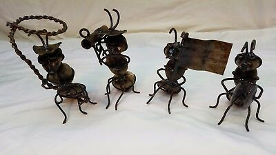 Working Ants With Garden Tools Lot of 4 Metal Yard Folk Art Decor