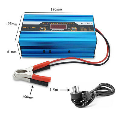 12 Volt 30A Amp 12V Automatic Intelligent Battery Charger Trickle Fast Car Van