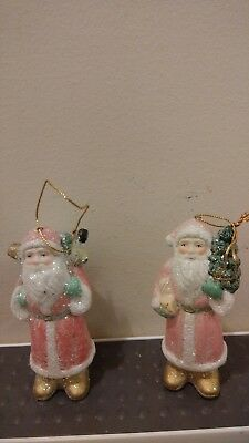 "Ceramic Santa Father Christmas Ornament lot of 2 pink glitter coats 4"" tall"