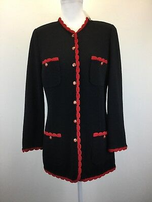 ST JOHN Jacket Blazer Suit Sz Small 4 - 6 NEW NWOT Black/Red Santana Knit
