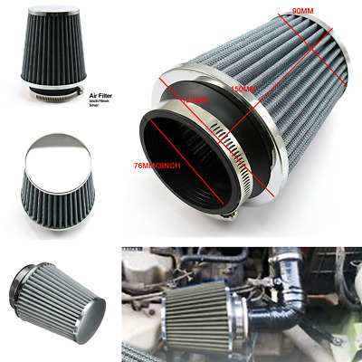 "76mm 3"" Car Air Pod Filter Cold intake Cone Power Flow Turbo Inlet Direct Kit"