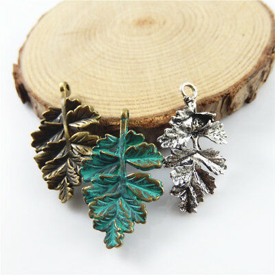 Wholesale 15pcs Mixed Color Alloy Crafts Leaves Shaped Pendants Charms Findings