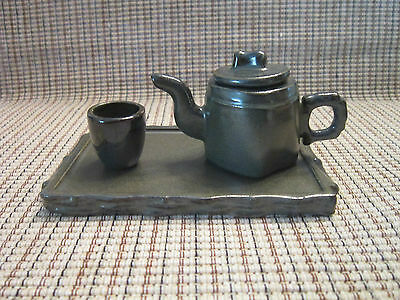 4 Piece Ceramic Japanese Asian Style Tea Set by Russ Child Size Ex. Condition