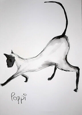 A3 ORIGINAL ART DRAWING * Charcoal on art paper * SIAMESE CAT   * Art By Poppi