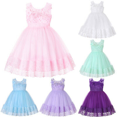 Flower Girl Toddler Baby Kid Princess Dress Party Pageant Wedding Tutu Ball Gown