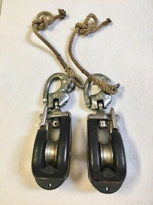 "Neptune Pulley Snatch Blocks Trident Large Pair Of 2 Sailboat 7"" Rubber / Steel"