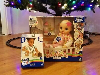 Baby Alive Blonde Real As Can Be Interactive Doll & BONUS 18 Diapers