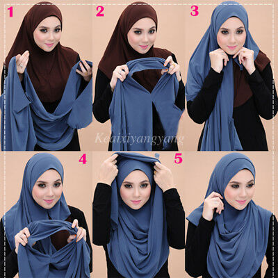 Muslim Two Loop Jersey Instant Shawls Two Face Hijab Malaysia Scarves Scarf
