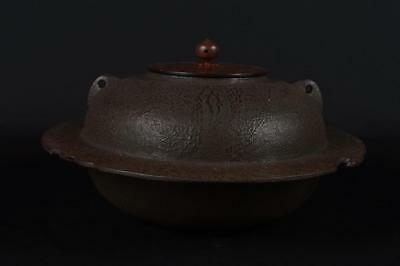 R3282:Japanese Iron Bamboo Pine sculpture TEAKETTLE Teapot Chagama w/copper lid