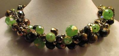 Vintage 80's Chunky Glass Crystal Bead Cluster Collar Necklace Green Brown Gold