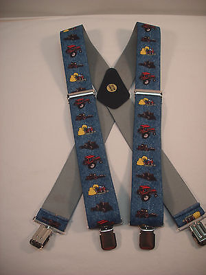 """New, Men's, XL, Adj. 2"""", Red Tractors on Blue, Suspenders / Braces, Made In USA"""