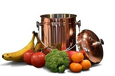 Kitchen Countertop Compost Bin with Lid, Copper Plated Stainless Steel Pail with