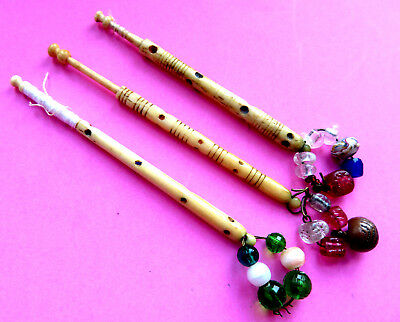 3 Early 19Th C Antique Decorated Cow Bone Lace Bobbins