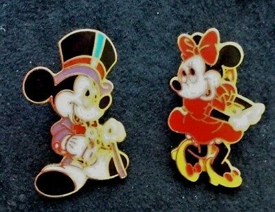 """Lot of 2 Disney Trading Pins Mickey Mouse & Minnie Mouse GENUINE approx 1"""" tall"""