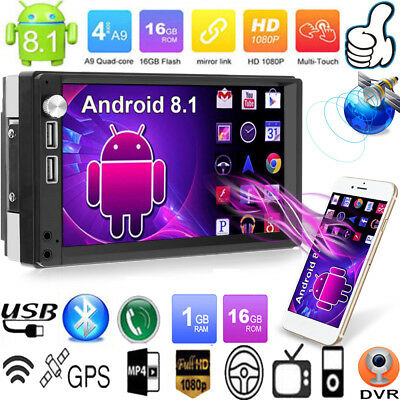 """7"""" 2DIN Android 8.1 Car Stereo MP5 Player Touch Screen GPS Navi FM Radio AUX USB"""