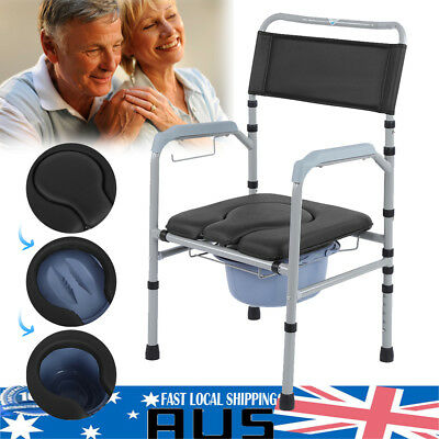 Commode Chair Foldable Height Adjustable Bedside Toilet Chair for Disability AU