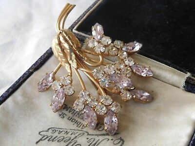 Dazzling Intake 1950s LILAC & Clear Paste Crystal Flower Brooch
