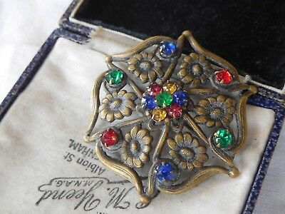 Gorgeous Art Deco Colourful Czech Glass Flower Brooch