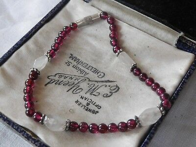 Pretty Vintage 1970s Genuine Garnet & Rose Quartz Bracelet with screw clasp