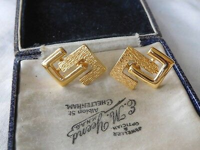 Lovely Vintage 1980s Decorative Gold Earrings signed MONET