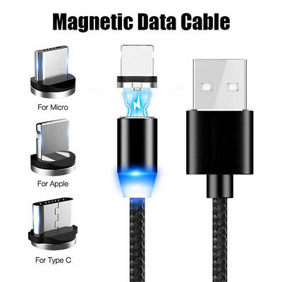 3 IN 1 Magnetic Micro USB/TypeC /IOS Fast Charging Charger Data Sync Cable Cord-