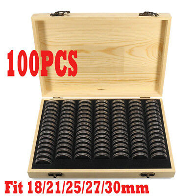 100pcs Wooden Round Coin Case Holder Capsules Storage Container Box Display AU