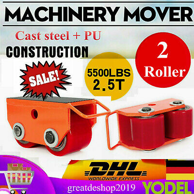 Heavy Duty Machine Dolly Skate Machinery Roller Mover Cargo Trolley 2.5T 2Roller